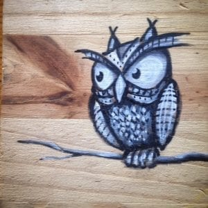 Gray Owl On Wood