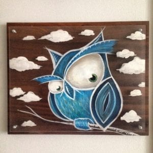Blue Owl In Clouds