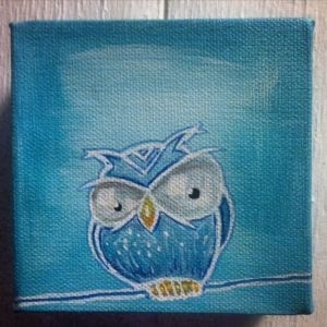 Blue owl On A Wire