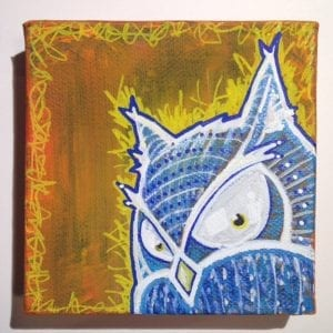 "Owl On Fire 4""x4"" Painting"