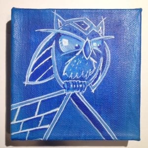 Owl In The Wind 4x4 Acrylic on Cube Canvas