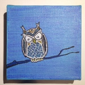 Owl On A Limb 4x4 Acrylic On Cube Canvas