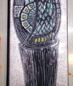 Silver Owl On A Post 4x12 Painitng