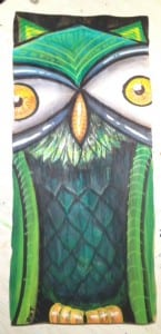 Small Hop Owl Painting On Found Wood