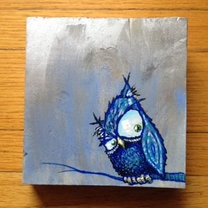 Blue Owl On Wood 3/2016