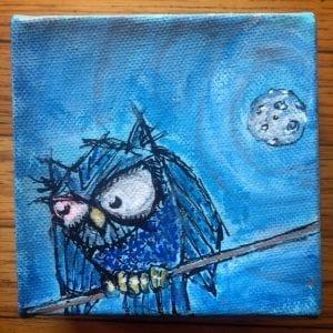 Ol' Pink Eye Owl Painitng