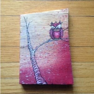 Red Owl On Wood Painitng