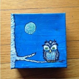 Owl At The Moon Painting