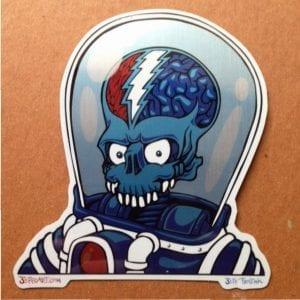 Dead From Mars Brushed Steel Sticker